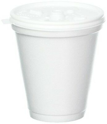 8 Oz White Disposable Foam Coffee Cups Hot Cold Drink 100 Cups Lids Office NEW