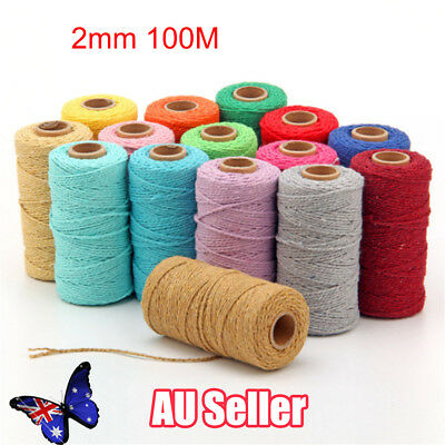 100m 100% Natural Cotton String Twisted Cord Beige Craft Macrame Artisan 2mm BO