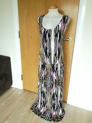 Ladies Dress Size 24 Black Yellow Long Maxi Stretch Casual