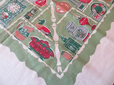 Vintage NOS Printed Cotton Startex Tablecloth Green Country Print With Label