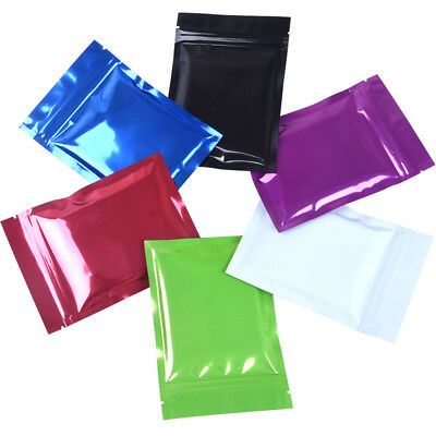 6 Colors Flat Mylar Foil Bags Food Aluminum Zip Lock Gift Pouches Resealable