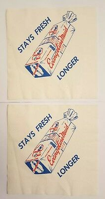 Evangeline Maid Bread lot- 2 Napkins vintage Louisiana Lafayette extremely rare!