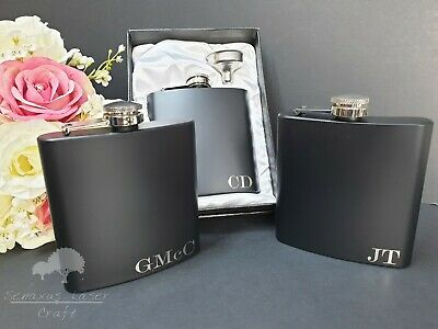6oz Black personalised Hip Flask.Bridal party Gifts with box choice BF87