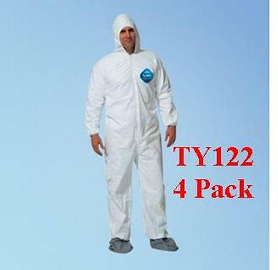 DuPont TY122S Disposable Tyvek Coverall, Hood, Boots, 1414 Size MED,  4 Pack