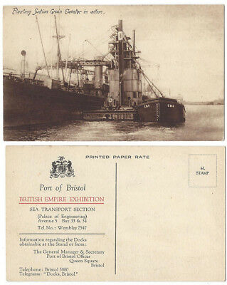 BRISTOL Floating Suction Grain Elevator, Empire Exhibition, Old Postcard 1924