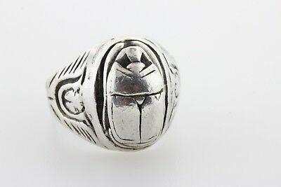 Vintage Sterling Silver 925 Textured Egyptian 3D Scarab Beetle Ring - Size 11.5