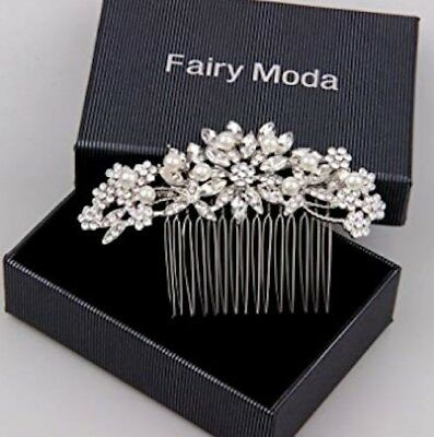 Fairy Moda Vintage Wedding Hair Accessories for Brides Crystal Simulated Pearl B