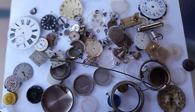 Mixed Lot Antique Pocket Watch Parts Enamel Dials Etc.