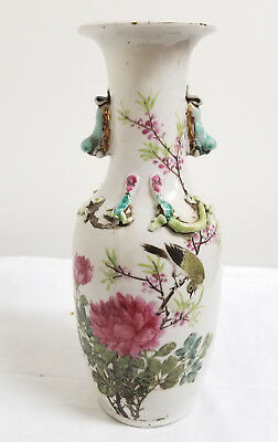Antique Chinese Signed Republic Period Vase Chilong Dragons Floral