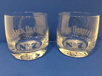 Pair of Jack Daniels OLD No 7 Brand Whiskey Round Etched Rocks Style Glasses