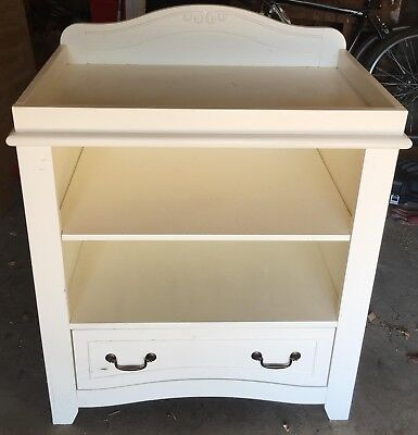 Solid Wood Vintage Style Ivory White Baby Changing Dresser Unit Table w/ drawer