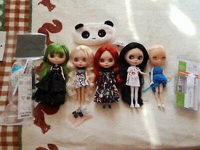 Blythe Dolls Set of 5 for customizing with outfits and some tools Factory Neo