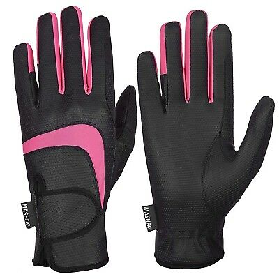 (X-Large, Black) - MASHFA Ladies Horse Riding Gloves Women Equestrian