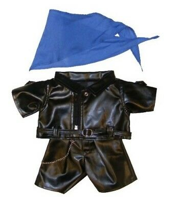 "Biker Outfit Teddy Bear Clothes Fits Most 14"" - 18"" Build-A-Bear"