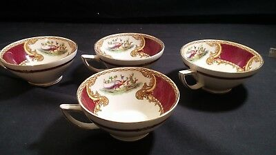 4 Vintage Myott Staffordshire CHELSEA BIRD RED Maroon Coffee Tea Cups Excellent