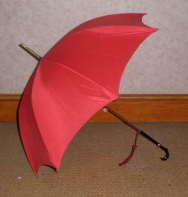 Vintage Ladies 'E. D. Watling' Red Canopy Umbrella - Paragon Frame