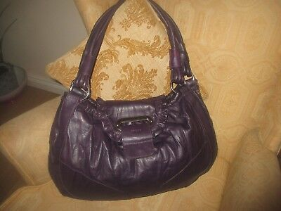 "Large Oversized Oraino Purple Leather Tote/hobo/shoulder Handbag Vgc 18""x11""x5"""