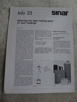 Sinar Information Sheet No 23. Selecting the right reading point for Spot readin
