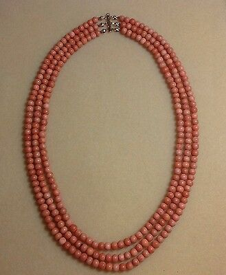 ANTIQUE  3 Strand ~Victorian~ Natural, Undyed Salmon Colored Coral Bead Necklace