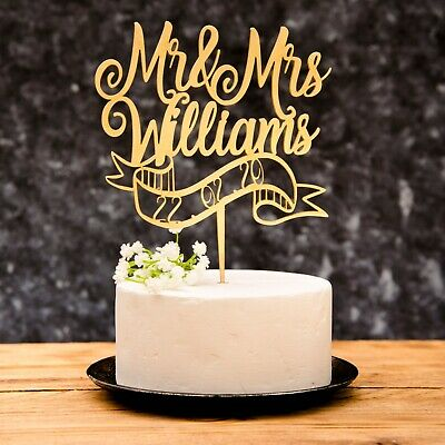 Personalised Calligraphy Mr & Mrs Date Wedding Cake Topper Rose Gold Gold Silver