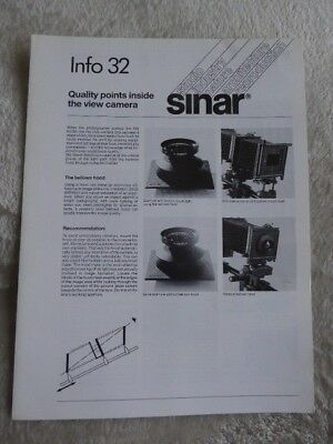 Sinar Information Sheet No 32. Quality points inside the View Camera. 1988