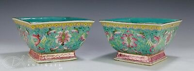 Nice Pair Of Old Chinese Porcelain Four Sided Bowls With Marks