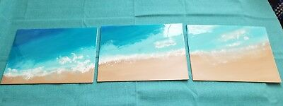 Beach Scene Painting Canvas Seascape Acrylic painted and resin poured