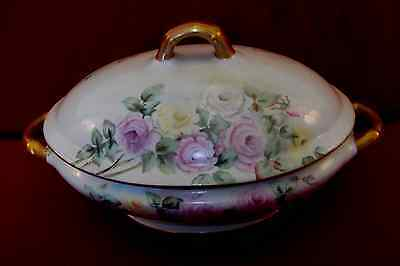 Antique hand-painted and signed ironstone tureen