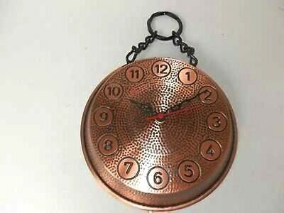 Wall clock copper burnished pan pot diameter 24 cm with chain