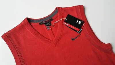 00ae2a36747e  150 MEN S SZ Small Nike Tiger Woods TW Wool Crew Golf Sweater Red ...