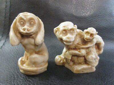 Lot Set of 2 Resin Carved Monkey Family Small Figurines ~ Made in Mexico