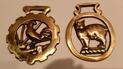 2 Vintage Heavy Brass Horse Bridle Rosettes - Rooster & Cat Designs -England