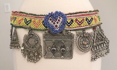 Unique Vintage Tribal Handcrafted, Silver Afghan Belt with Colorful Seed Beads a
