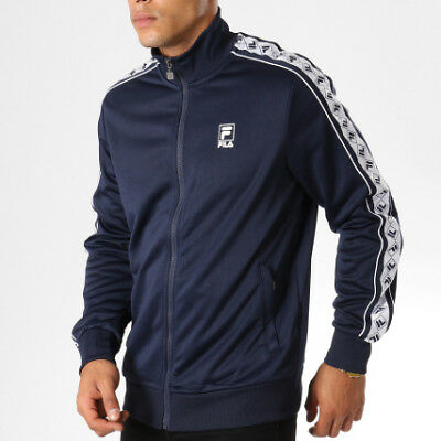 9e47edc427 Sweatshirt Fila Black Line 682376 Man Zip Blue White Fleece Jacket Urban  Vintage