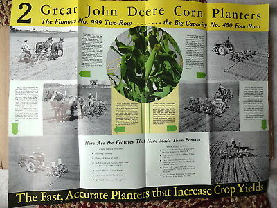 1939 John Deere Corn Planters # 450 Four Row & # 999 Two Row Mailer Brochure