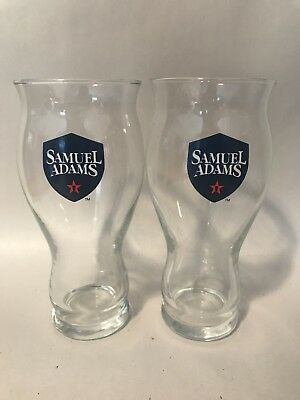 16 Oz Ounce Samuel Sam Adams Perfect Pint Beer Glass Boston Beer Co. Set of 2