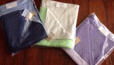 New 3 Bebe Bella Toddler / Baby Blankets - Blue, Lime, Purple & Ivory Colors