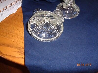 Vintage Double Candle Holders Pair Clear Pressed Glass Star Sides Double Design