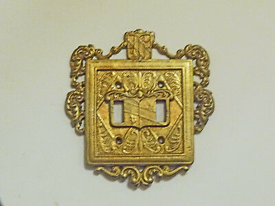 Virginia Metalcrafters Ornamental Brass Double Switchplate