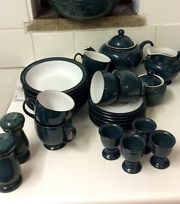 Denby Greenwich tea/breakfast set for 6 people.  Excellent condition.