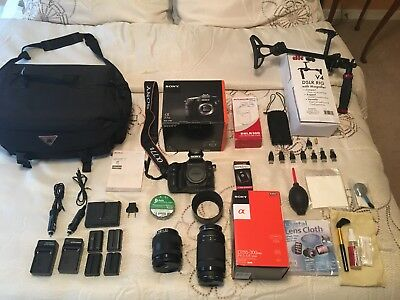 Sony Alpha a77 II DSLR Camera Bundle W/Rig, lenses, Remote, Flash, & batteries