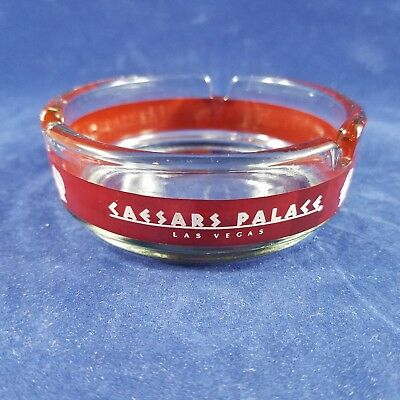 CAESARS PALACE Maroon Ashtray - Glass Las Vegas Casino Gambling Smoking Vintage