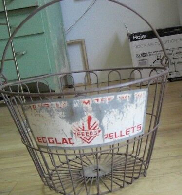 Vintage Master Mix Feeds Advertising Poultry Chicken Wire Egg Gathering Basket