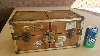 Antique Small Travel Trunk Jewelry Case w/Key & Travel stickers Estate Find 1900