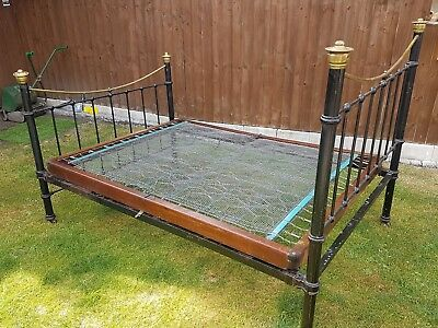 Antique Double Bed  vintage victorian cast iron bed