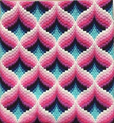 Bargello Needlepoint Florentine Long stitch Original handmade Pink & Turquoise