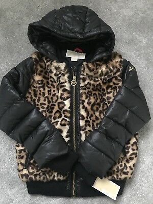 Brand New Girls Designer Michael Kors Black Leopard Print Fur Coat Jacket 6 Year