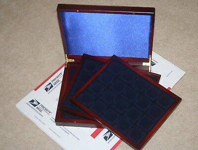 2x2 Quadrum Coin Presentation Display Wood Box Case Lighthouse Delux 3 Trays