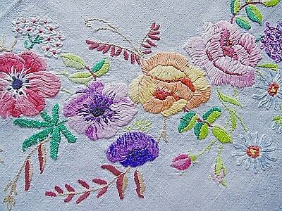 Vintage,Hand Embroidered Tablecloth, Summer floral circle Linen, 40 x40 iinches