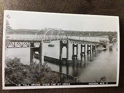 Hudson WI Toll Bridge St. Croix River Real Photo Postcard Postmark Wisconsin